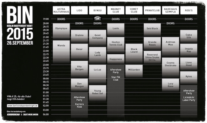 Berlin Independent Night Running ORder Timetable